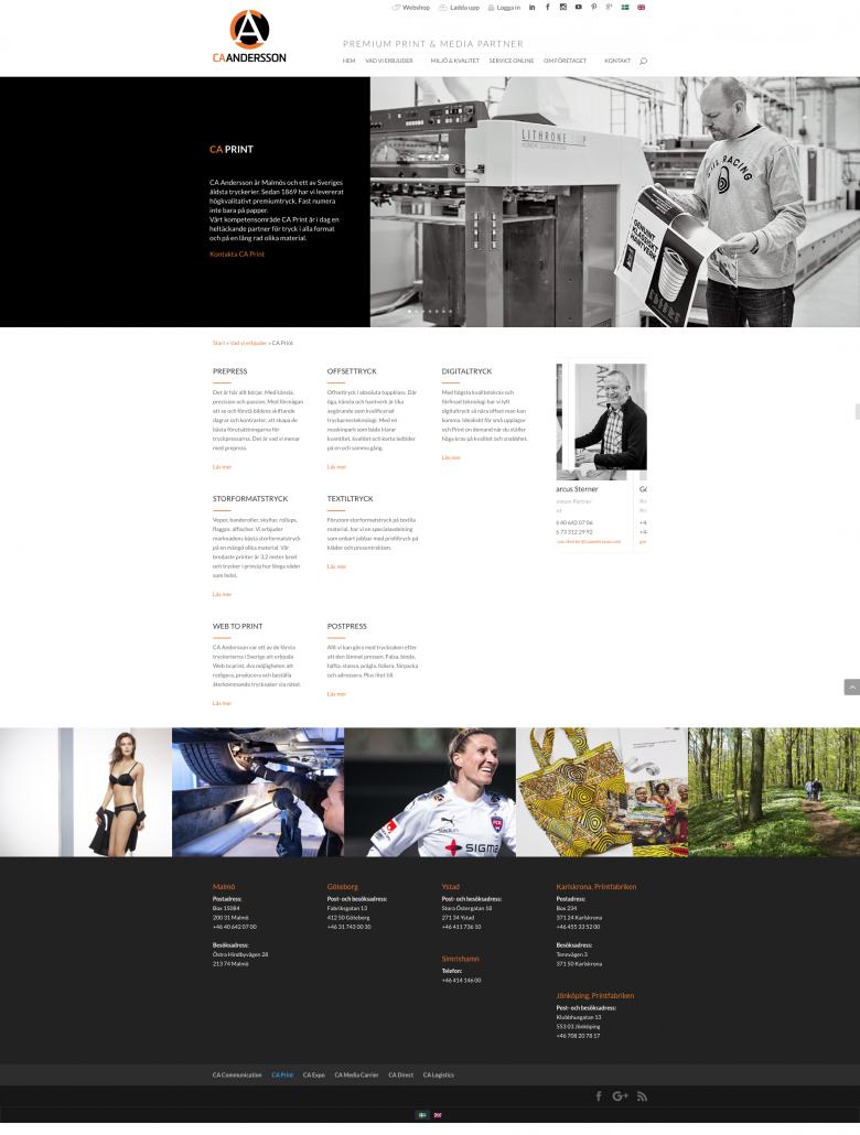 Hemsida CA Andersson - Produktben