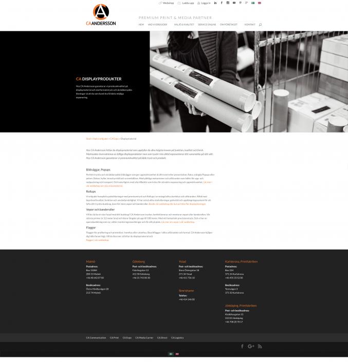 Hemsida CA Andersson - Produktsida