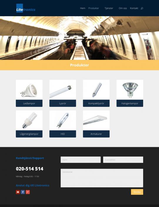 Hemsida Litetronics - Produktkategorier