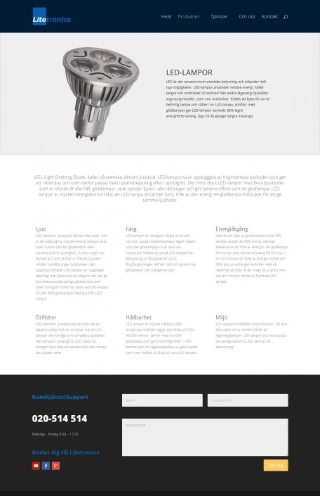 Hemsida Litetronics - Produktsida