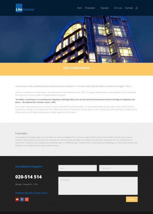 Hemsida Litetronics - Om företaget