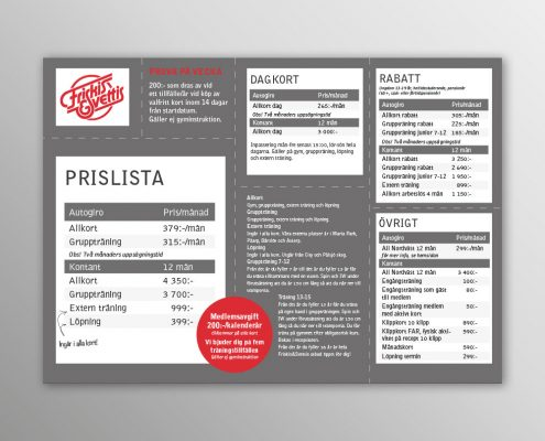 Trycksaker: Prislista Friskis&Svettis Helsingborg