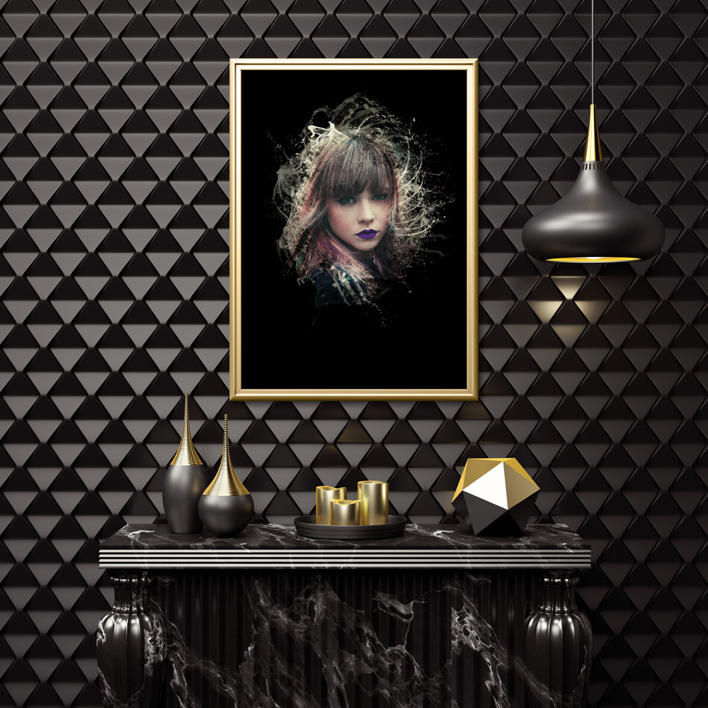 Poster Porträtt färgstänk