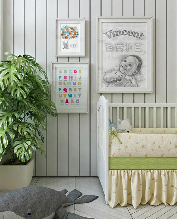 Poster Födelsetavla tecknad