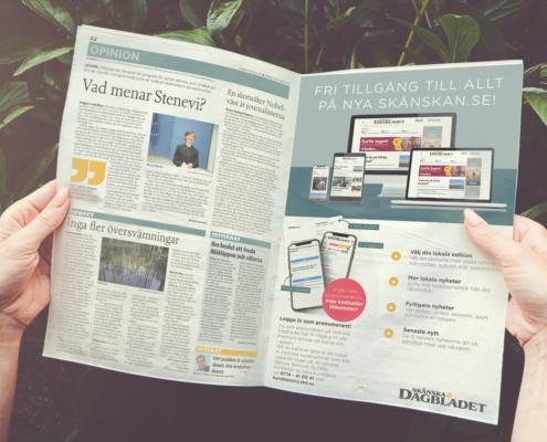 Printannons för att locka tidningsläsarna till webb och app