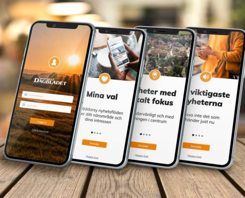 Design för startsidorna i appen för Skånska Dagbladet och Norra Skåne